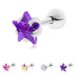 Šperky eshop - Oceľový piercing do tragusu ucha, ligotavá zirkónová hviezdička W04.13/28 - Hlavička: 6 mm, Farba zirkónu: Ružová - P