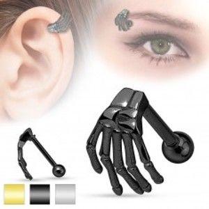 Šperky eshop - Oceľový piercing do ucha alebo obočia, kostra ruky, rôzne farby AC19.04 - Farba: Čierna