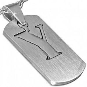 Šperky eshop - Oceľový prívesok - dvojdielny štítok s písmenom Y AC11.24
