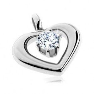 Šperky eshop - Oceľový prívesok - oblá kontúra srdca s okrúhlym čírym zirkónom v strede AA33.28