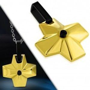 Šperky eshop - Oceľový prívesok - široký kríž zlatej farby s čiernym očkom v strede G12.5