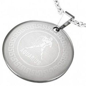 Šperky eshop - Oceľový prívesok s potlačou znamenia zverokruhu VODNÁR S21.05