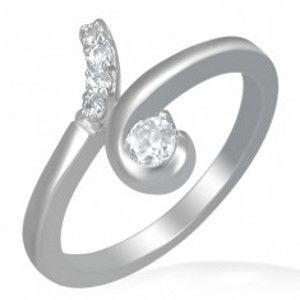 Šperky eshop - Oceľový prsteň - slučka s okrúhlymi čírymi zirkónmi E7.2 - Veľkosť: 52 mm