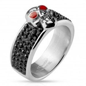 Šperky eshop - Oceľový prsteň striebornej farby, lebka s červenými očami, čierne zirkóny M15.29 - Veľkosť: 65 mm