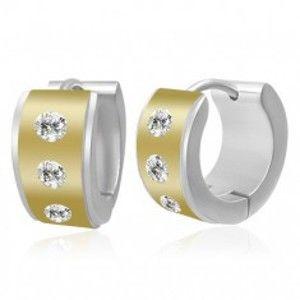 Šperky eshop - Okrúhle dvojfarebné oceľové náušnice - stred so zirkónmi, okraje striebornej farby R16.7
