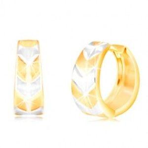 Šperky eshop - Okrúhle náušnice v 14K zlate - krúžok s matným dvojfarebným vzorom V GG217.27