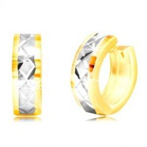 Šperky eshop - Okrúhle náušnice v 14K zlate - plôšky, pás z bieleho zlata, mriežka GG219.16