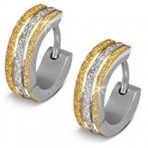 Šperky eshop - Okrúhle náušnice z ocele 316L - ligotavý povrch v zlatej a striebornej farbe AC10.29