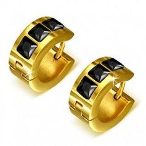 Šperky eshop - Okrúhle náušnice zlatej farby z ocele, tri čierne štvorcové kamienky S37.03