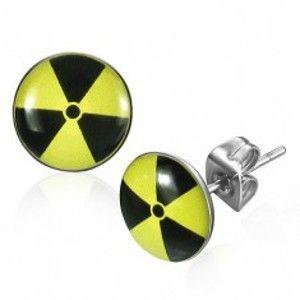 Šperky eshop - Okrúhle oceľové náušnice - žltočierny nukleárny symbol R22.10
