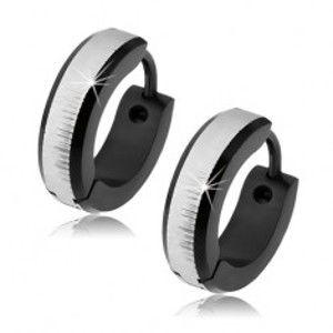 Šperky eshop - Okrúhle oceľové náušnice čiernej farby, saténový pás striebornej farby S56.03