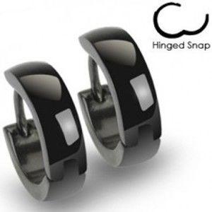 Šperky eshop - Okrúhle oceľové náušnice v lesklom čiernom odtieni, zaoblený povrch R43.13