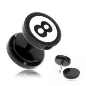 """Šperky eshop - Okrúhly akrylový fake plug - biliardová guľa číslo """"8"""" PC33.09"""
