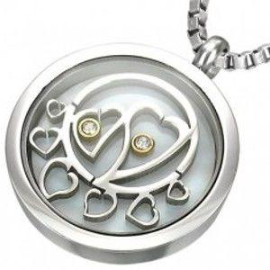 Šperky eshop - Okrúhly oceľový prívesok, vo vnútri srdiečka so zirkónmi G19.02
