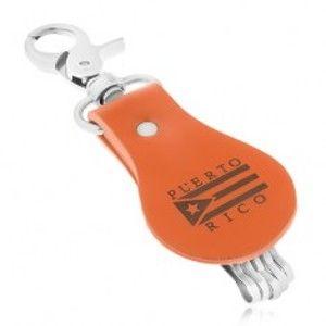 Šperky eshop - Patinovaná kľúčenka, hnedý pás syntetickej kože, vlajka, PUERTO RICO Y36.06