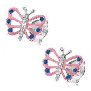 Šperky eshop - Patinované náušnice, striebro 925, motýlik so svetloružovými krídlami, výrezy PC03.40