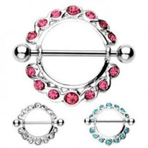 Šperky eshop - Piercing do bradavky - činka a kruh so zirkónmi po obvode, 2 kusy C14.8 - Farba zirkónu: Aqua modrá - Q