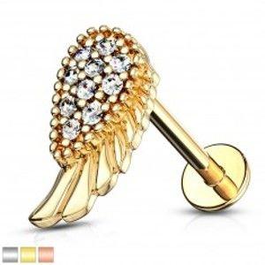 Šperky eshop - Piercing do brady a pery, z ocele 316L - anjelské krídlo a slzička so zirkónmi W17.39/W18.04 - Dĺžka piercingu: 8 mm, Farba piercing: Medená