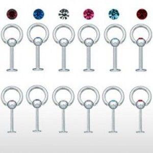 Šperky eshop - Piercing do brady s hrubou obručou a zirkónom C4.4 - Hrúbka piercingu: 1,6 mm, Farba zirkónu: Ružová - P