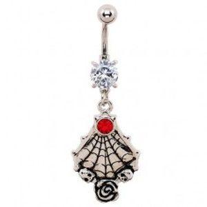 Šperky eshop - Piercing do brucha - patinovaná pavučina, lebky a ruža, zirkóny W02.24