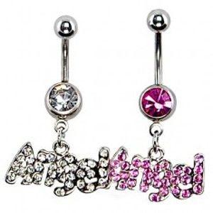 Šperky eshop - Piercing do brucha z ocele - ANGEL a zirkóny F17.6 - Farba: Ružová