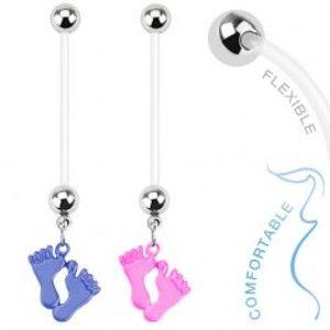 Šperky eshop - Piercing do bruška z bioflexu - farebné detské nožičky AA43.13 - Farba piercing: Modrá