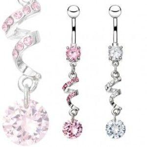 Šperky eshop - Piercing do bruška z ocele 316L, zirkónová špirála a kamienok Z8.4/8 - Farba zirkónu: Ružová - P