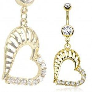 Šperky eshop - Piercing do bruška z ocele 316L zlatej farby, obrys srdca, zirkóny a výrezy AA10.27