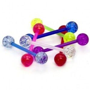 Šperky eshop - Piercing do jazyka - sklovitá disco gulička, trblietky N35.27 - Farba piercing: Číra
