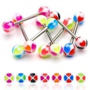 Šperky eshop - Piercing do jazyka srdiečka N26.23 - Farba piercing: Zelená - Fialová