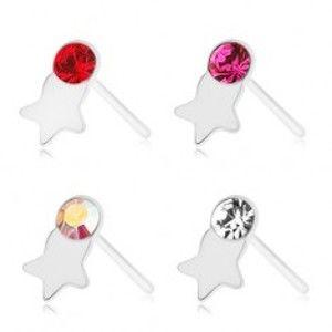 Šperky eshop - Piercing do nosa, striebro 925, rovný, farebný zirkónik, lesklá hviezdička SP88.14 - Farba zirkónu: Červená - R