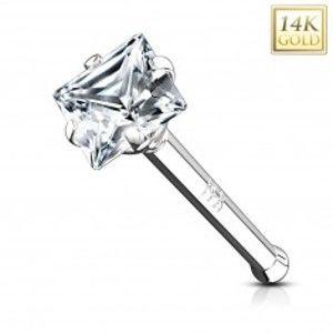 Šperky eshop - Piercing do nosa z bieleho 14K zlata - rovný tvar, číry štvorcový zirkón GG221.24