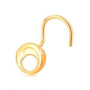 Šperky eshop - Piercing do nosa zo žltého 14K zlata - malý lesklý kruh s výrezom, zahnutý GG142.11