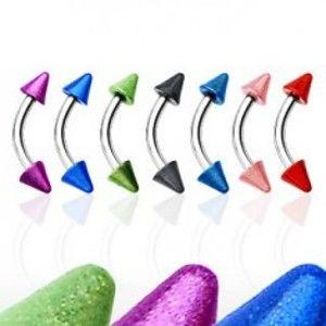 Šperky eshop - Piercing do obočia s dvoma farebnými hrotmi C17.5 - Farba zirkónu: Fialová - A
