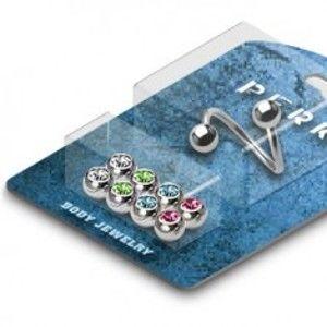 Šperky eshop - Piercing do obočia twist - gulička so zirkónom - sada C12.2