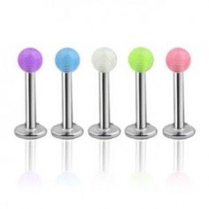 Šperky eshop - Piercing do pery, brady - priesvitná farebná gulička Y12.13 - Farba piercing: Modrá