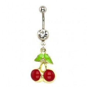 Šperky eshop - Piercing do pupka - čerešne, podklad zlatej farby I13.1