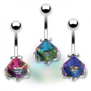 Šperky eshop - Piercing do pupka - krištáľová kocka, farebný odlesk pozadia Y11.4 - Farba: Modrá
