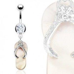 Šperky eshop - Piercing do pupka - perleťová papučka, zirkón Y9.19