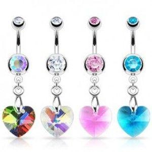 Šperky eshop - Piercing do pupka - zirkónové srdiečko, rôzne farby F15.13 - Farba zirkónu: Ružová - P