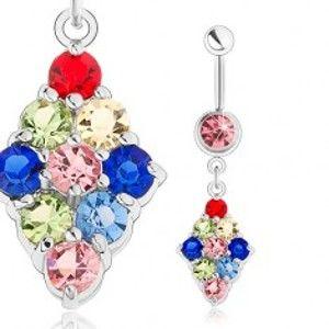 Šperky eshop - Piercing do pupka, chirurgická oceľ, kosoštvorec vykladaný farebnými zirkónmi SP23.09