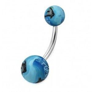 Šperky eshop - Piercing do pupka z ocele - guličky FIMO s motívom oceánu, ryba Z26.01