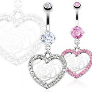 Šperky eshop - Piercing do pupka z ocele - zirkónové srdce, ruža Y12.14 - Farba: Číra