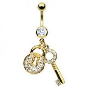 Šperky eshop - Piercing do pupka zlatej farby - kľúč a zirkónová kladka F13.5