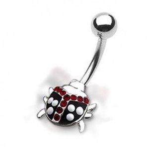 Šperky eshop - Piercing do pupku - bodkovaná lienka s červenými zirkónmi I10.8