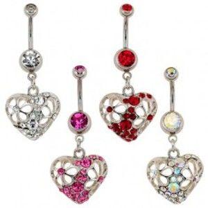 Šperky eshop - Piercing do pupku - srdce, vykrajované kvety, zirkóny SP55.05/8 - Farba: Ružová