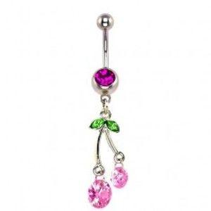 Šperky eshop - Piercing do pupku - visiace ružové čerešne, zirkóny I13.15
