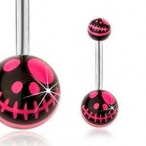 Šperky eshop - Piercing do pupku, oceľ 316L, čierna a neónovo ružová farba, kreslená lebka SP30.09