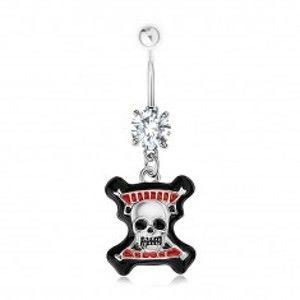 Šperky eshop - Piercing do pupku, oceľ 316L, číry zirkón, lebka, čierny lem, červené prúžky SP84.19