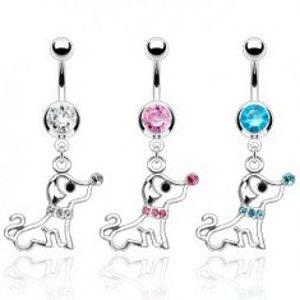 Šperky eshop - Piercing do pupku psík s obojkom zo zirkónov N5.3 - Farba zirkónu: Číra - C